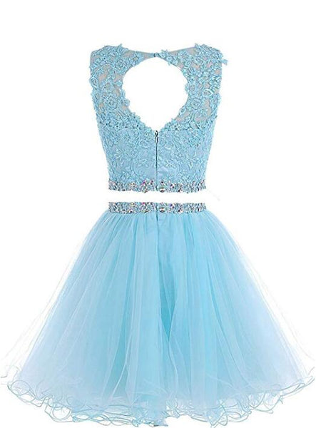 Cute Two Piece Tulle with Beadings Homecoming Dress, Lovely Formal Dress
