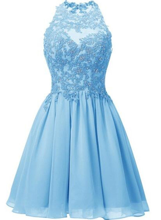 light blue chiffon homecoming dress