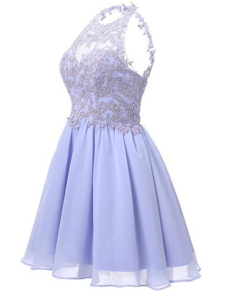 Lovely Chiffon Halter Homecoming Dress, Knee Length Party Dress with Lace Applique