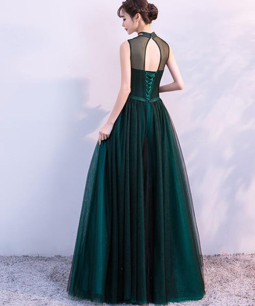 Gorgeous Dark Green Halter Tulle Party Dress, Charming Formal Dress 2019