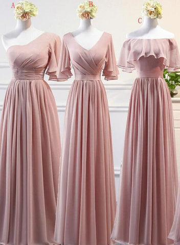 mismatch chiffon pink dress