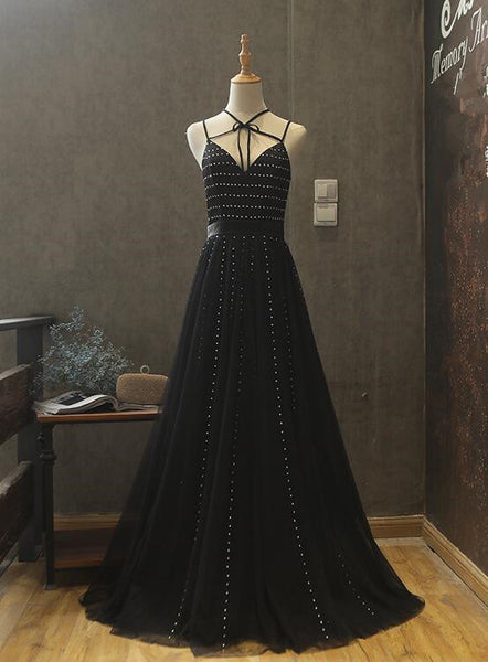 BLACK TULLE BEADED PARTY DRESS