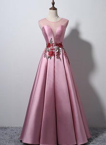 pink satin party dress