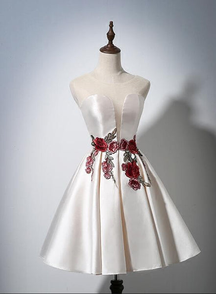 ivory satin homecoming dress