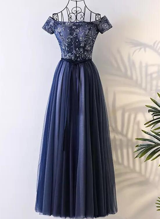 navy blue tulle long prom dress
