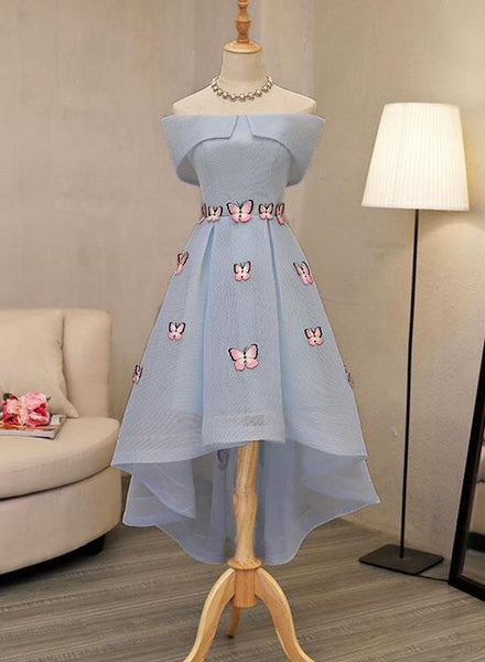 light blue high low dress