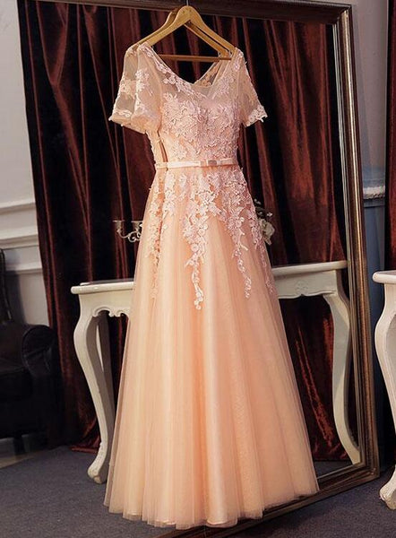 pearl pink tulle formal dress
