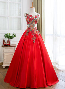 red satin flowers long party gown