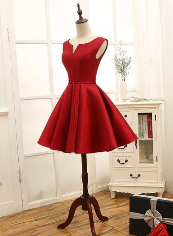 dark red satin homecoming dress 2019