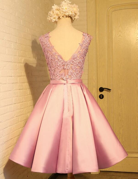Lovely Pink Satin and Lace Homecoming Dress, Lovely Formal Dress 2019