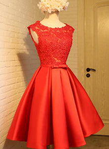 Cute Red Homecoming Dress, Round Neckline Lace and Satin Party Dress