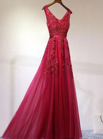 dark red tulle long party dress