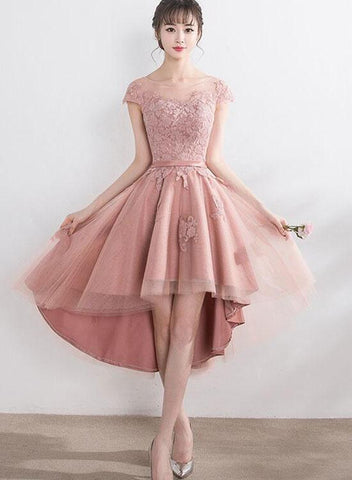 pearl pink tulle high low dress