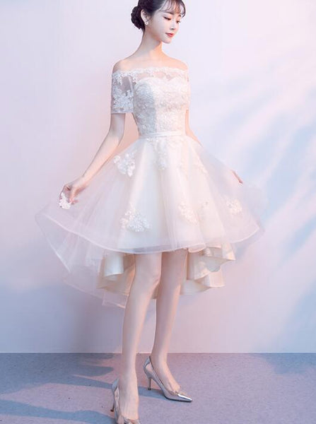 Champagne High Low Tulle Party Dress 2019, Cute Tulle Formal Dress with Lace Applique