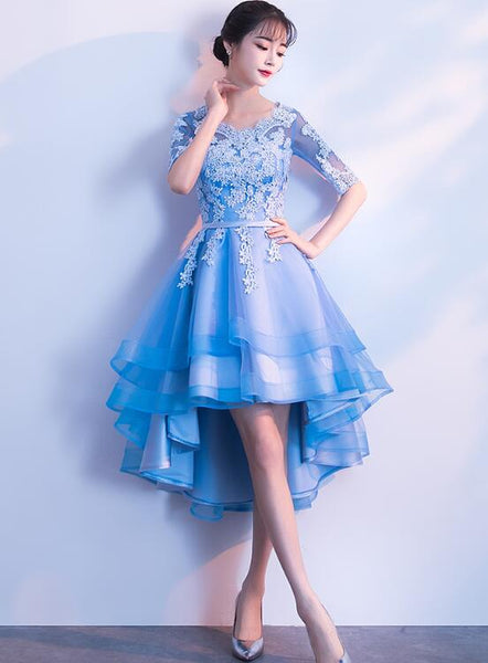Blue High Low Tulle Party Dress 2019, Cute Tulle Formal Dress with Lace Applique