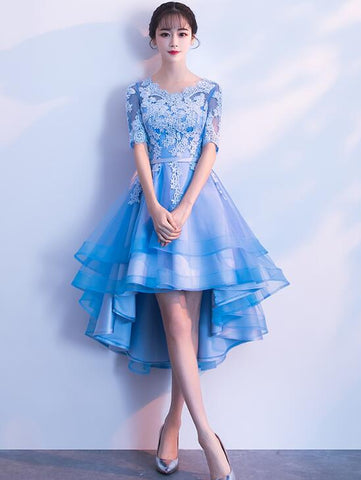 blue high low tulle party dress
