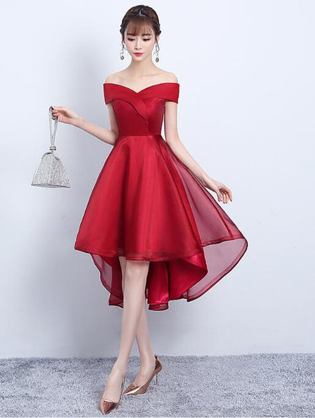 Dark Red Satin High Low Homecoming Dress, Off the Shoulder Party Dress