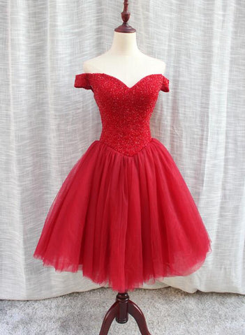 red off shoulder tulle and beaded party dress