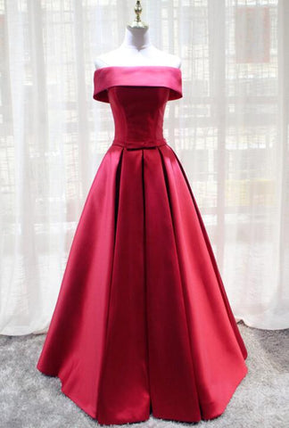 Red Satin Off Shoulder Long Formal Gown, Charming Party Dress, Handmade Formal Dress