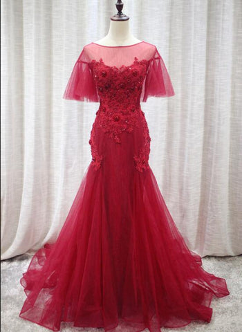 red mermaid long evening gown