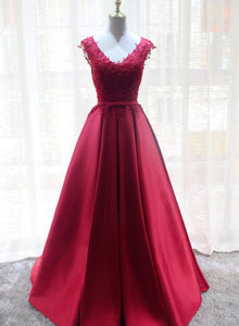 red lace and satin long formal dress