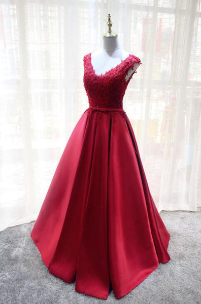 V-neckline Pretty Lace and Satin Red Long Formal Dress, Charming Prom Dress 2019
