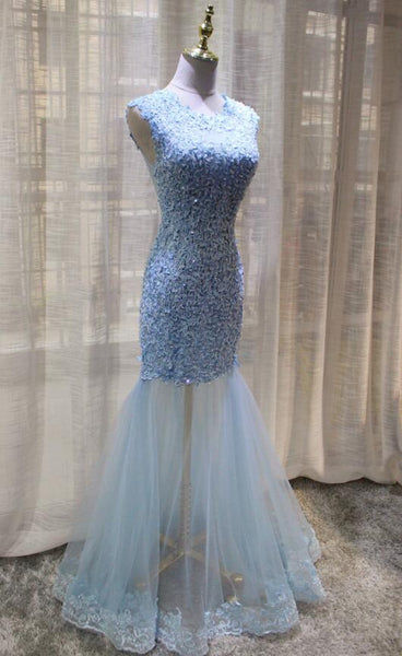 Charming Mermaid Lace Long Formal Gown, High Quality Handmade Party Dresses 2019