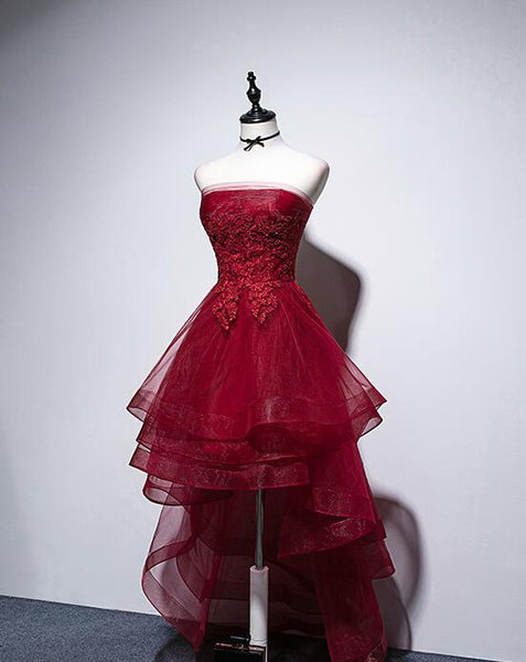Dark Red High Low Unique Style Party Dress with lace, New Homecoming Dress 2019