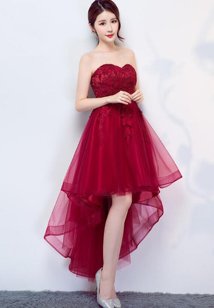 Dark Red Homecoming Dress 2019, Beautiful High Low Party Dress