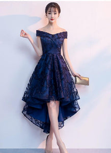 navy blue high low dress