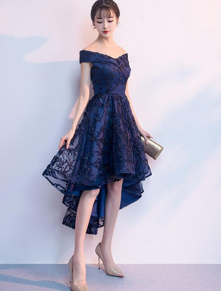 Navy Blue Lace High Low Chic Homecoming Dress, Beautiful Party Dresses