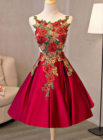 Cute Red Satin with Embroidery Knee Length Homecoming Dress, Short Party Dress 2019