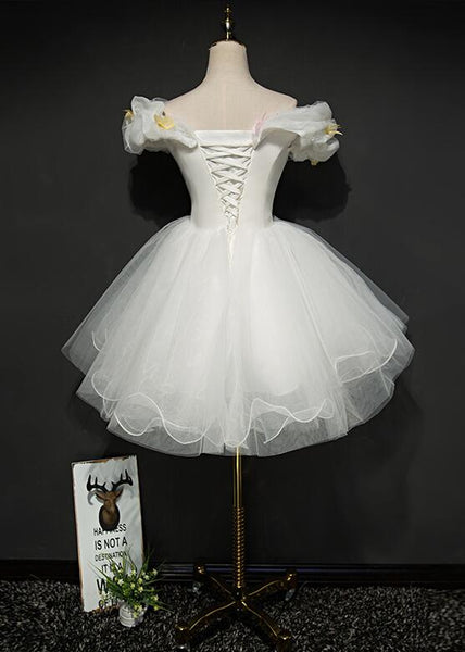 Lovely White Tulle Knee Length Homecoming Dress, White Party Dress