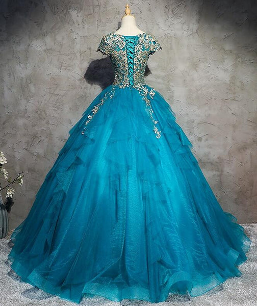Gorgeous Round Neckline Cap Sleeves Tulle with Lace Sweet 16 Dresses, Long Formal Gowns