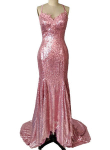 pink sequins party gown