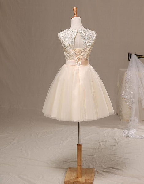 Lovely Lace and Tulle Champagne Knee Length Party Dress with Bow, Cute Formal Dress
