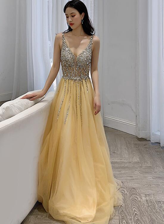 champagne long party dress
