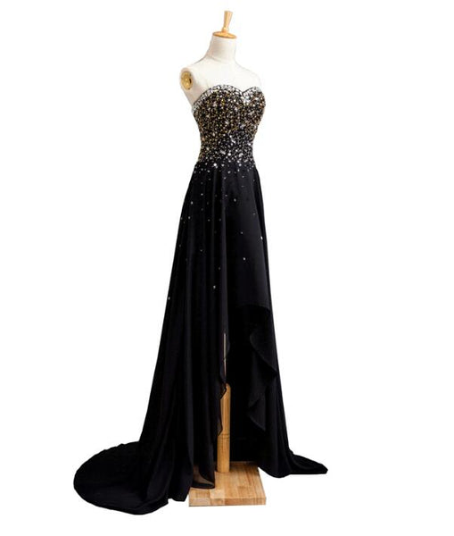 Sexy Black Chiffon Beaded Party Dress, Junior Long Prom Dress