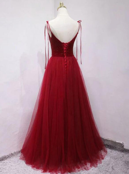 Beautiful Red Tulle Sparkle Party Dress, Red Formal Gown, Red Party Dress
