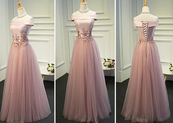 Pink Off the Shoulder Long Party Dress, Pink A-line Formal Dress