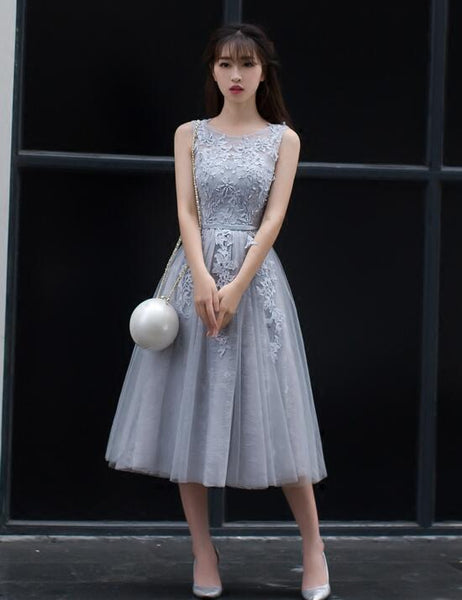 Beautiful Grey Tea Length Homecoming Dress, Tulle Round Neckline Party Dress