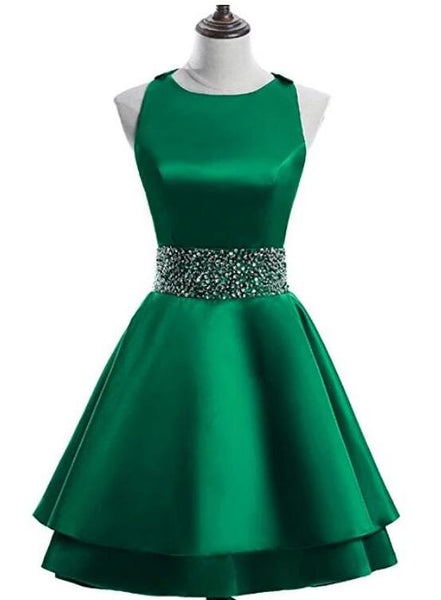 Cute Satin Knee Length Cross Back Beaded Party Dress, Homecoming Dress 2019