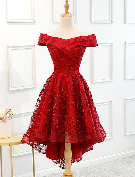 Dark Red High Low Off the Shoulder Party Dress, Dark Red Homecoming Dress