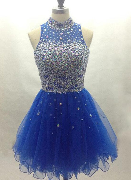 Cute Blue Knee Length Beaded Lace-up Party Dress, Lovely Short Prom Dress