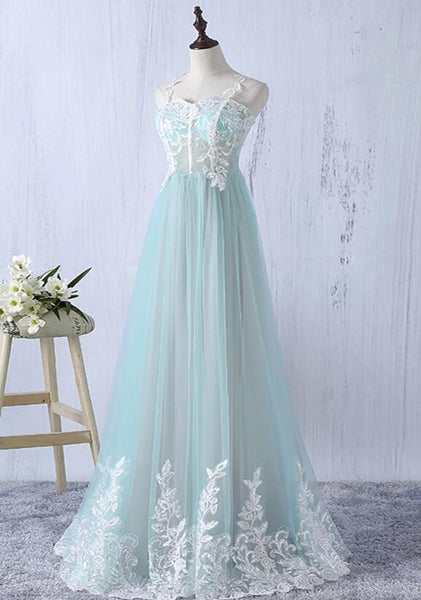 Beautiful Mint Green Straps Long Junior Prom Dress with Lace, Elegant A-line Formal Dress