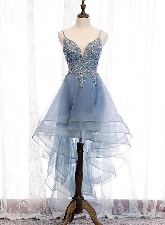 Blue High Low Tulle V-neckline Straps Party Dress with Lace, Cute Homecoming Dress 2019