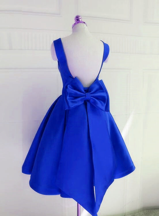Royal Blue Backless Satin Party Dress with Bow, Lovely Party Dress 2019