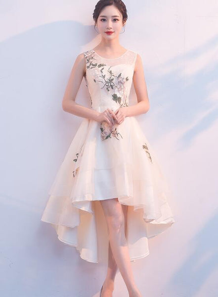 Lovely High Low Tulle Champagne Party Dress, New Homecoming Dress 2019