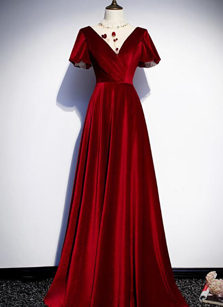 Dark Red Velvet New Style Long Prom Dress, Charming Formal Gown