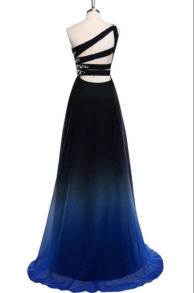 Charming A Line Sweep Train One Shoulder Sleeveless Gradient Prom Dress, Chiffon Party Dress